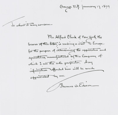 Thomas Edison letter Alfred Clark Copyright courtesy of  EMI Group Archive Trust